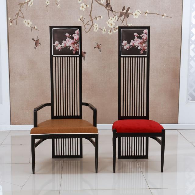新中式铁质高背椅洽谈椅子酒店会所简约现代形象椅