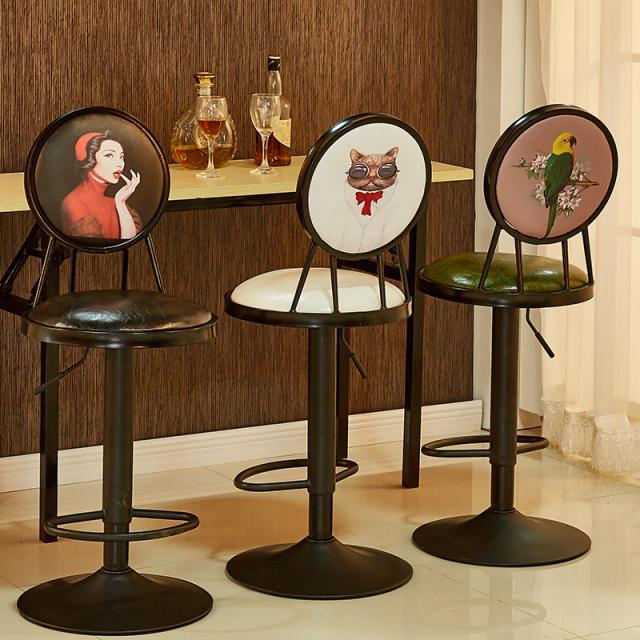 吧台椅升降旋转酒吧椅 手机前台吧登 高脚椅时尚靠背复古简约吧椅