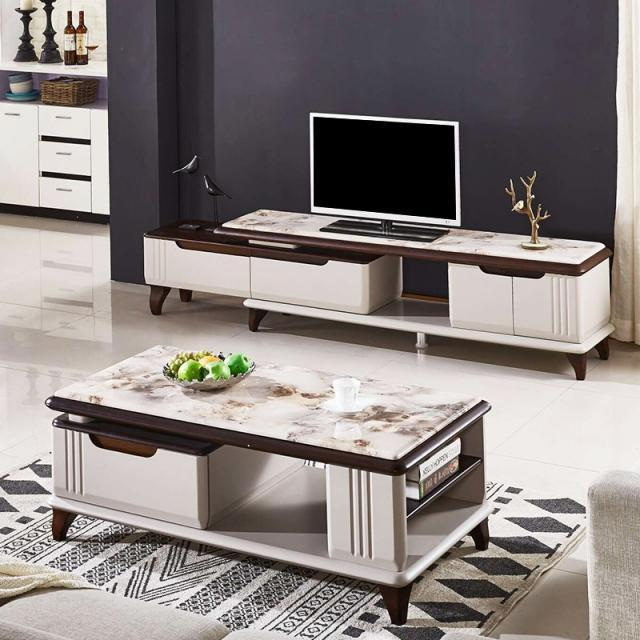 大理石茶几电视柜组合套装烤漆北欧现代小户型茶几桌