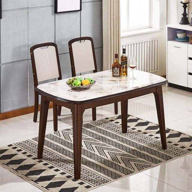 北欧实木餐桌椅组合 现代简约小户型4人家用长方形大理石吃饭桌子
