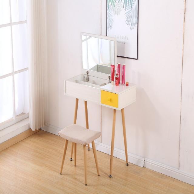 北欧梳妆台小户型简约迷你组装现代省空间卧室经济型翻盖化妆台桌