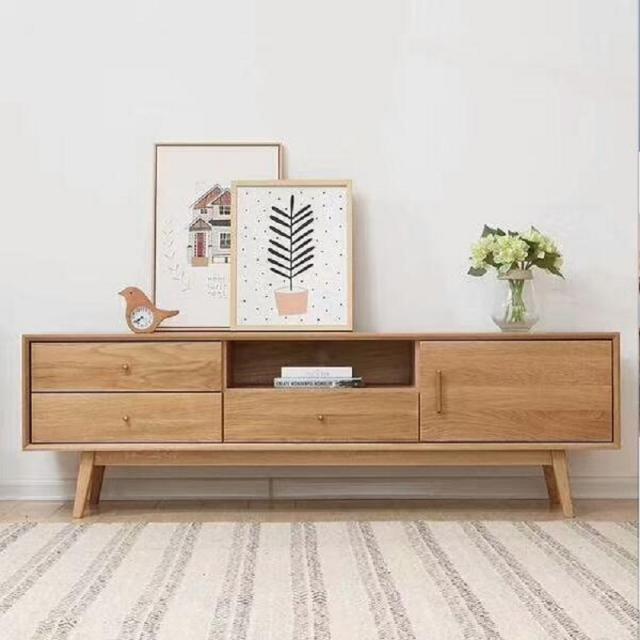 北欧实木电视柜 日式简约白橡木小户型电视机柜子原木家具试听柜