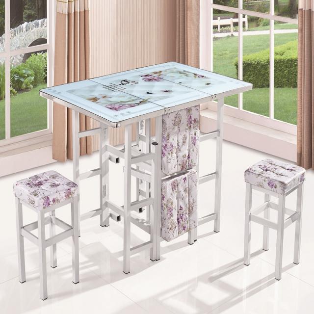 简约现代家用伸缩桌子折叠餐桌椅组合铁艺钢化玻璃小户型饭桌