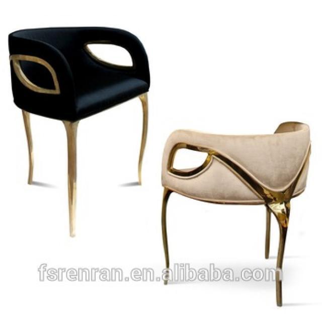高端奢华铜制绒布设计师款式扶手餐椅休闲椅