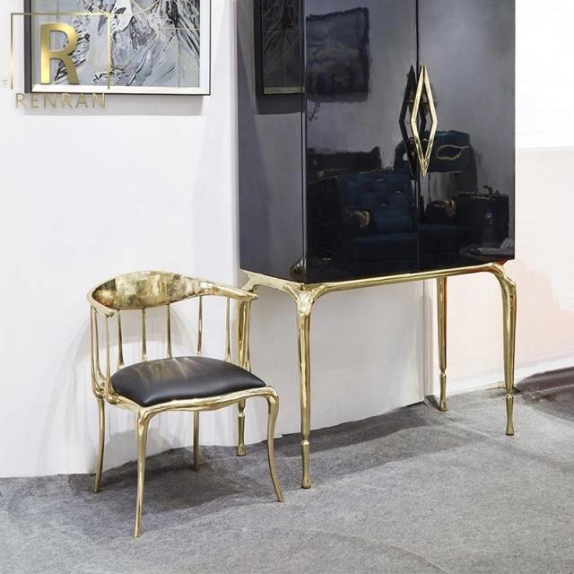 奢华轻奢铜制休闲椅子餐椅客厅椅子