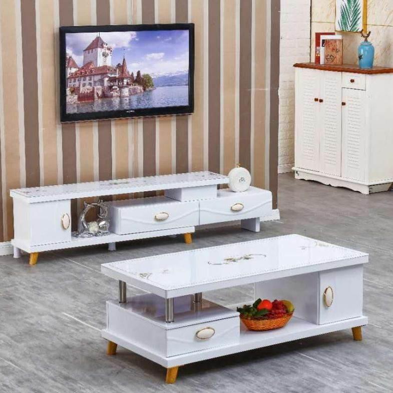 大理石茶几电视柜组合简约现代小户型烤漆客厅茶几北欧家具套装