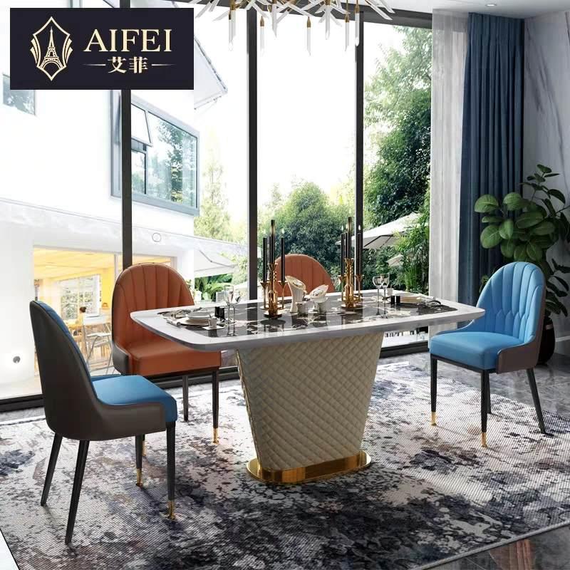 轻奢大理石餐桌椅组合现代简约家用桌子饭桌意式家具长方形餐桌