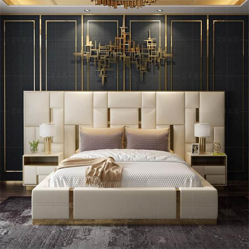艾菲后现代轻奢床真皮双人卧室简约现代港式样品房轻奢家具美式床