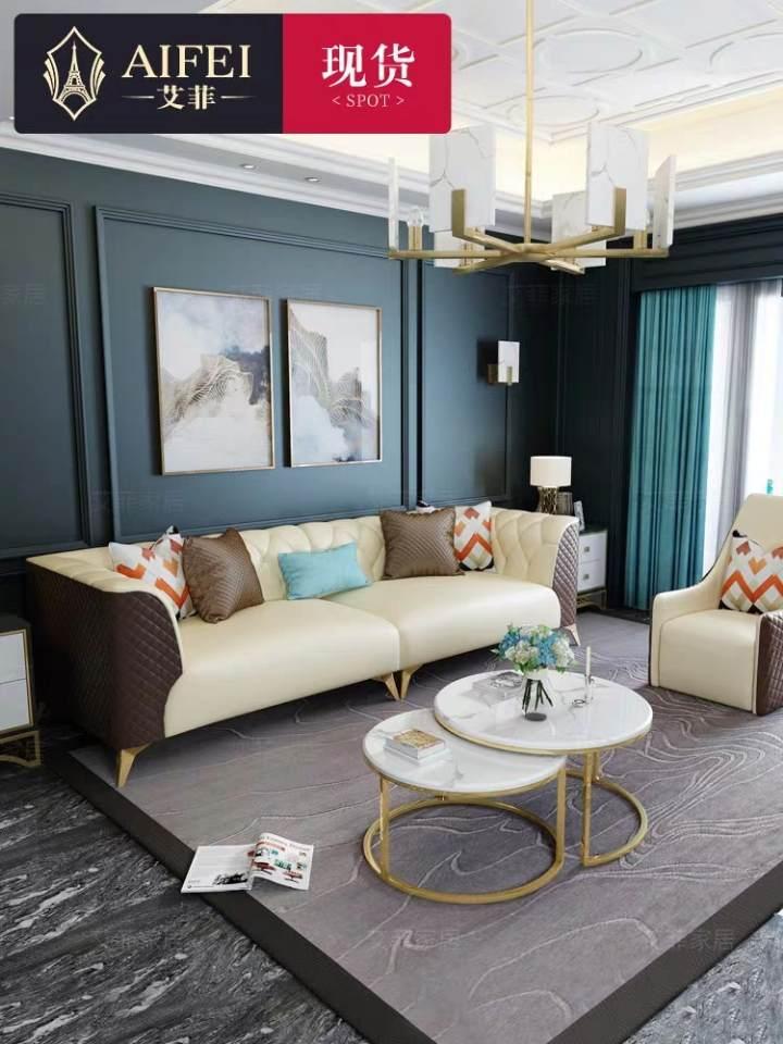 艾菲 后现代真皮沙发皮艺简约新古典样板房港式家具轻奢美式沙发