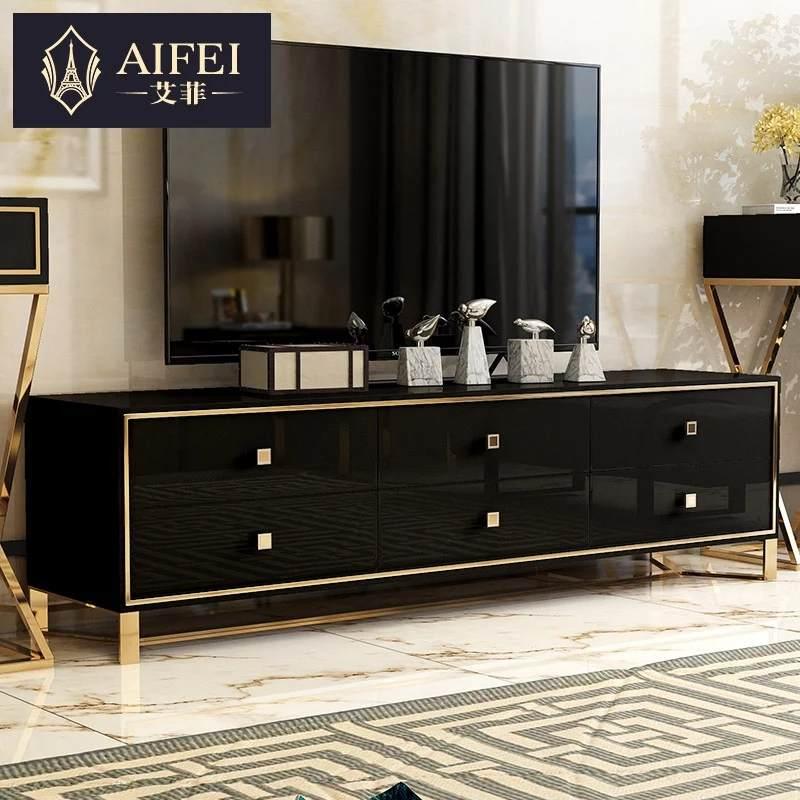 艾菲 后现代电视柜轻奢 客厅简约不锈钢港式新古典样板房轻奢家具