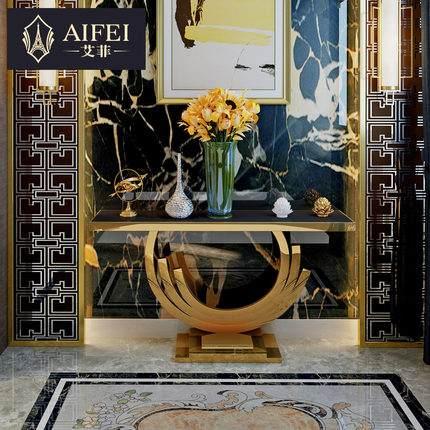 艾菲 轻奢玄关柜不锈钢装饰边柜创意摆设样板房家具后现代玄关桌