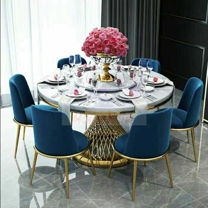 轻奢大理石餐桌后现代简约圆餐桌子吃饭家用小户型圆形餐桌