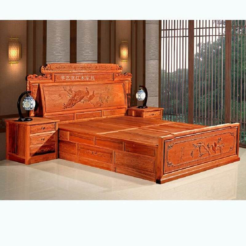 刺猬紫檀床新中式花梨木工厂直销素面实木1.8米双人床红木床