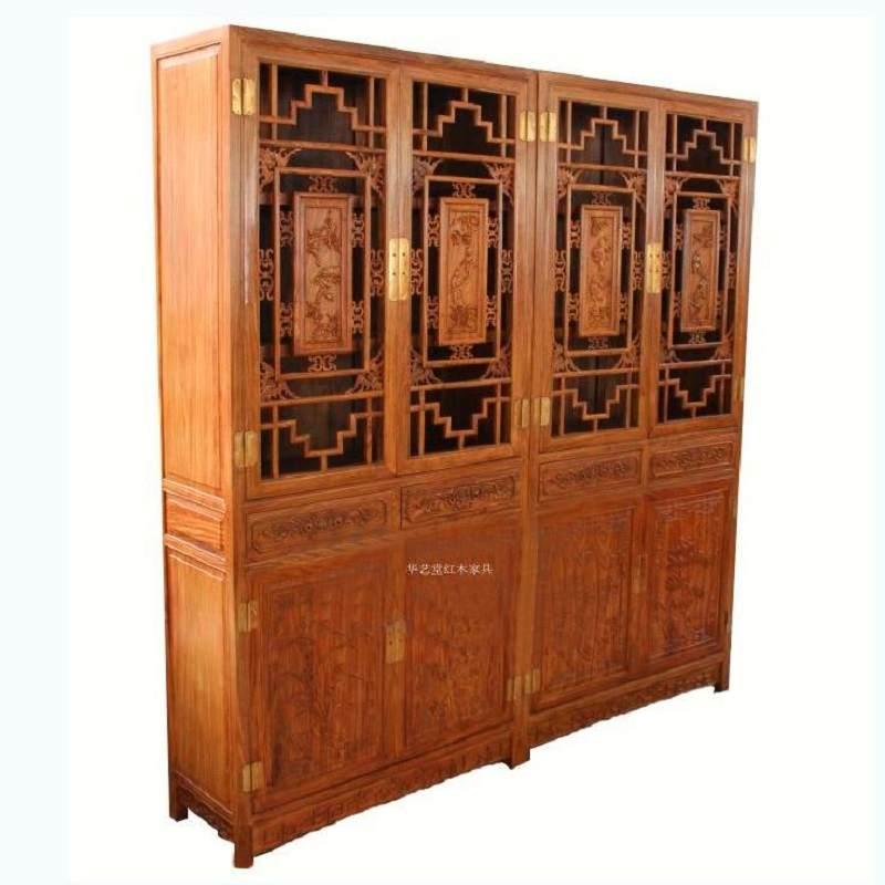 红木书柜书架刺猬紫檀非洲花梨木明式组合书柜简约书房柜储物柜