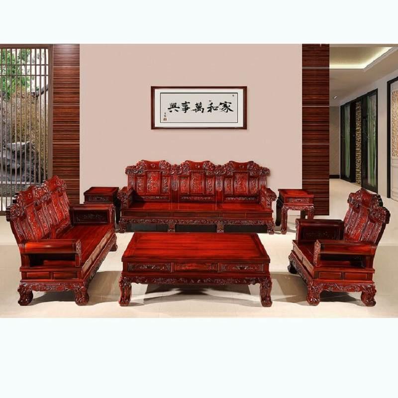 红木沙发 非洲酸枝木沙发麒麟宝座沙发 中式古典红木家具客厅组合