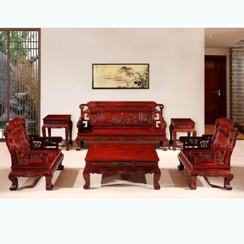 红木家具客厅中式实木南非大红酸枝木财源滚滚 国宝沙发组合