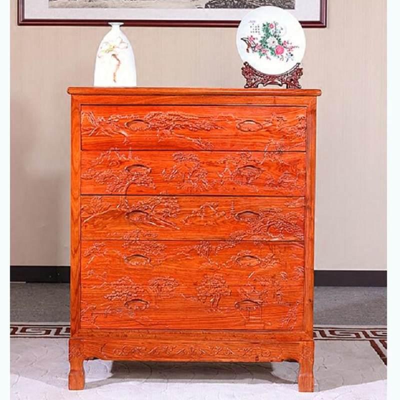 红木五斗柜 橱斗柜 刺猬紫檀花梨木中式实木古典原木衣柜储物柜