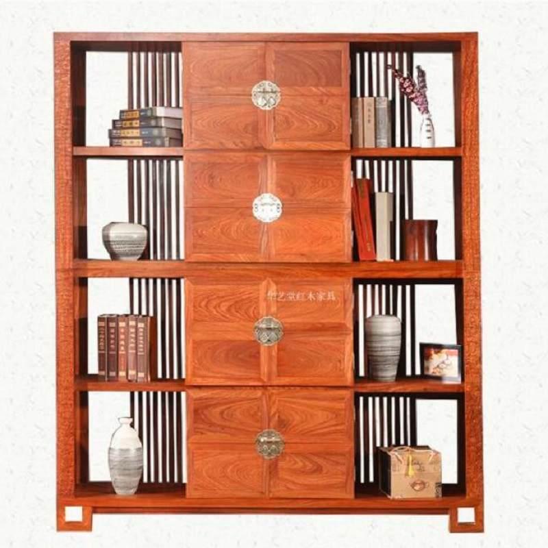 新中式红木书柜刺猬紫檀花梨木书博架 隔厅柜博古架 装饰柜玄关柜