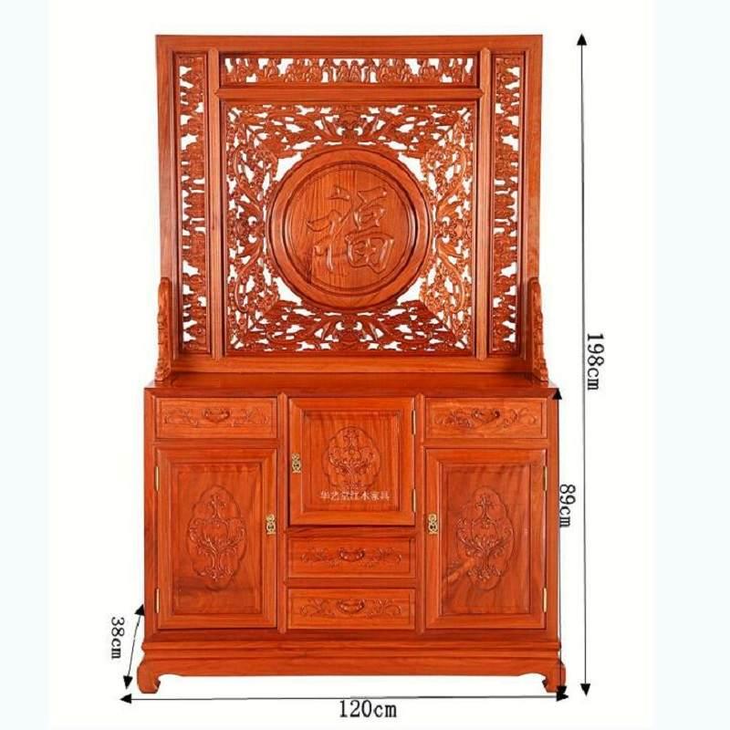 热销木雕麒麟现代中式屏风隔断客厅玄关柜子实木镂空双面雕刻插屏