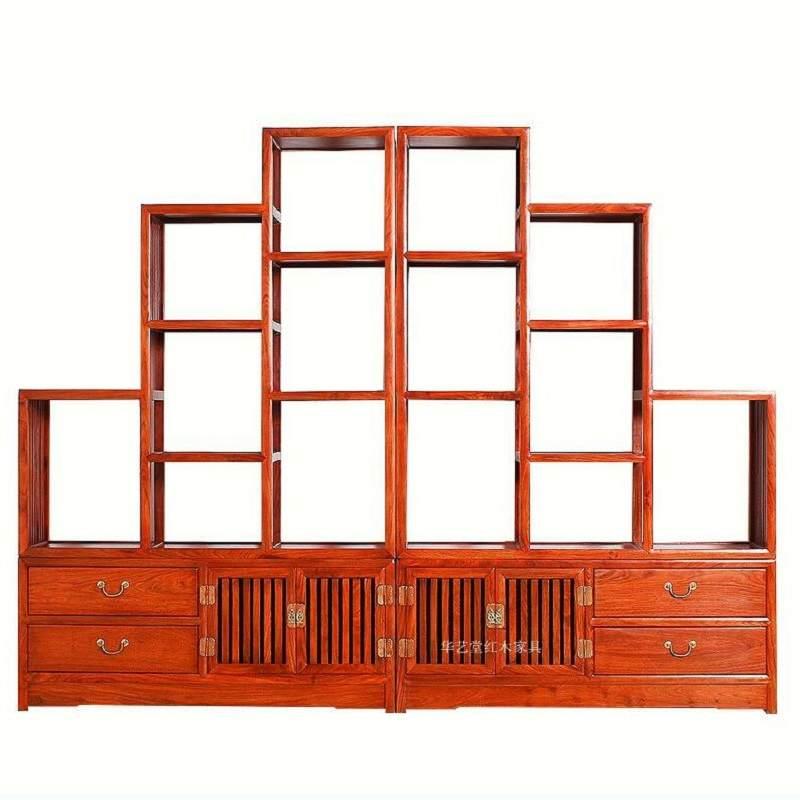 全榆木家具 客厅博古架中式多宝阁隔断实木古董架展示柜古典家具