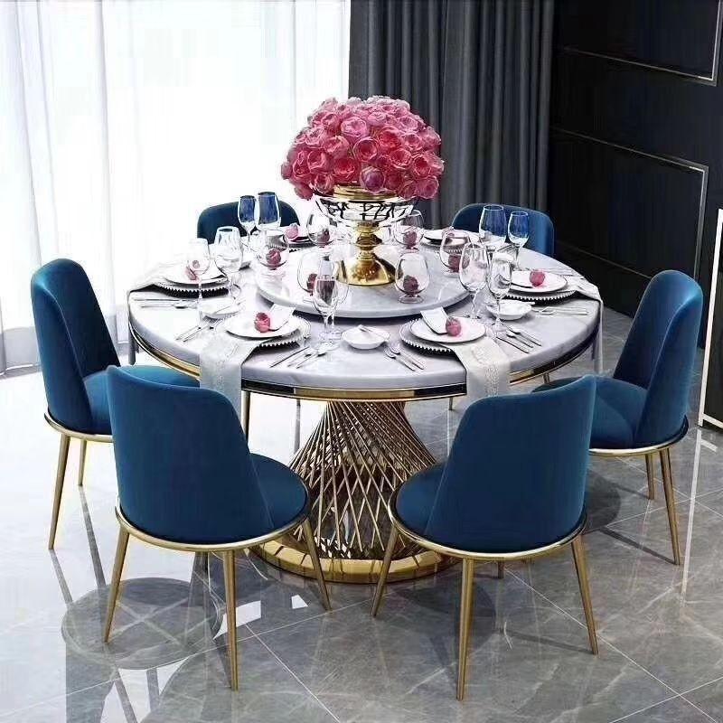 奢餐桌椅组合简约不锈钢6~8人台酒店样板房港式后现代餐桌