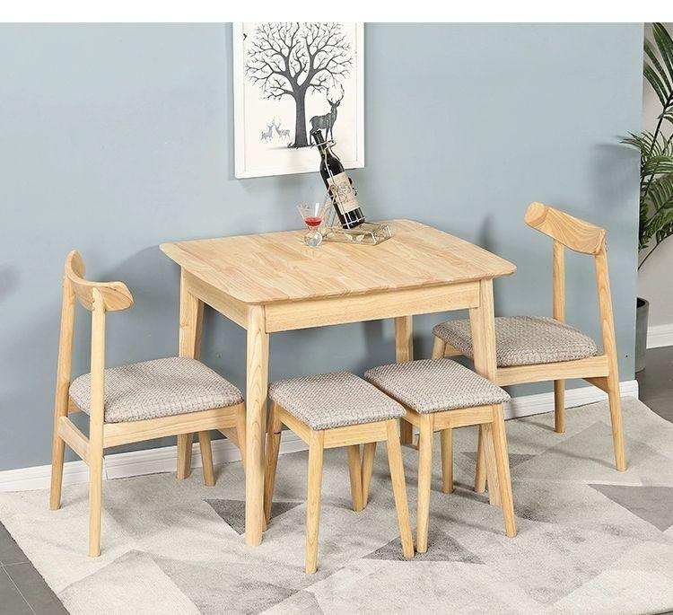 原木伸缩餐桌家用小户型北欧饭桌简约现代实木长方形一桌四椅组合