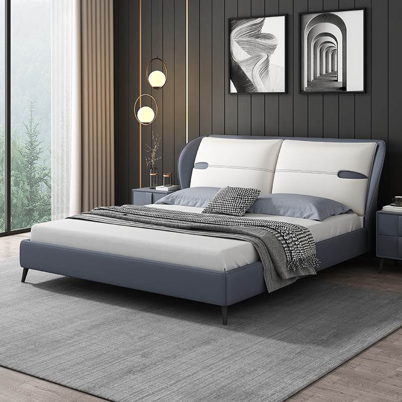 布艺软床超纤皮软床+床头柜整套