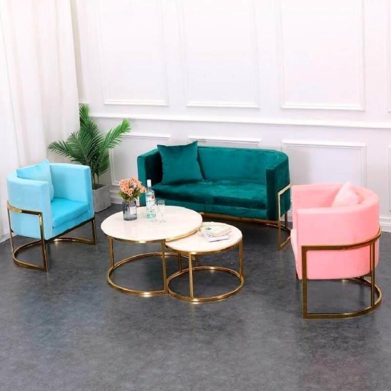 奶茶店桌椅组合餐厅咖啡沙发美容美发休息沙发茶几组合网红ins风