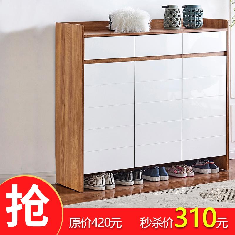 鞋柜 家用 门口大容量实木色收纳玄关进门入户简易经济型门厅柜子