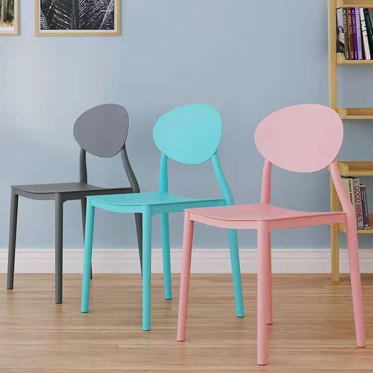 北欧风塑料椅子靠背凳子现代简约家用餐椅书房椅休闲洽谈椅可叠放