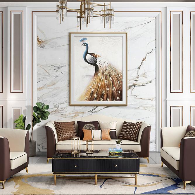 美式轻奢真皮沙发组合客厅现代简约大小户型皮艺沙发纳帕沙发