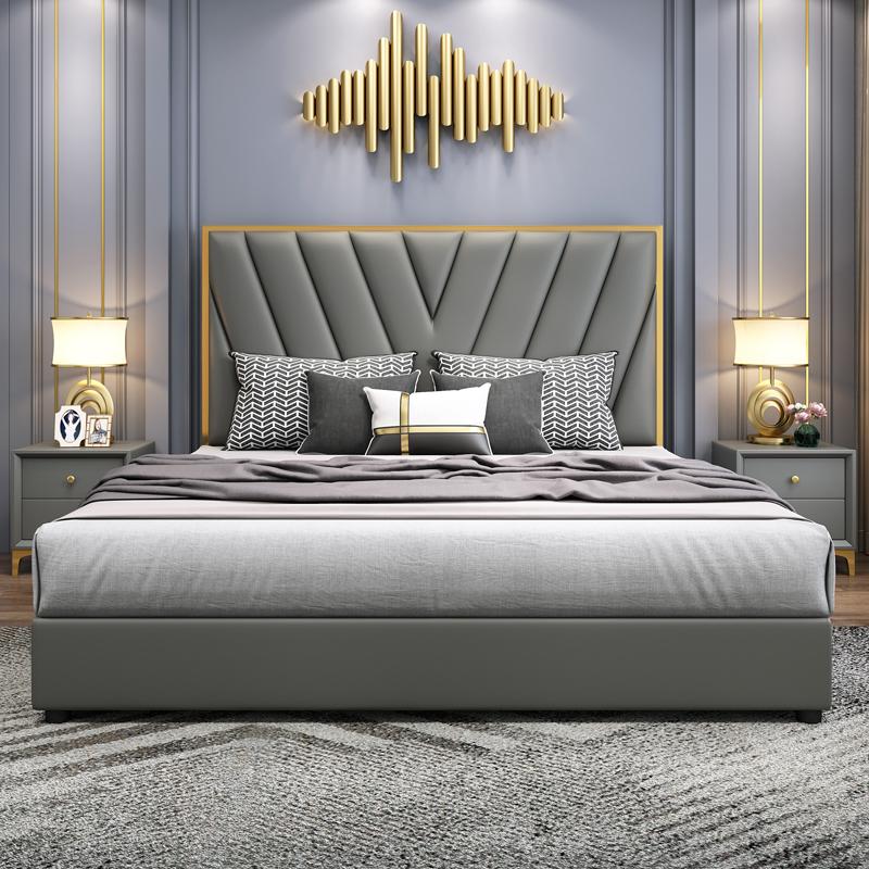 轻奢床现代简约ins网红真皮床1.8米双人床主卧室储物婚床港式皮床