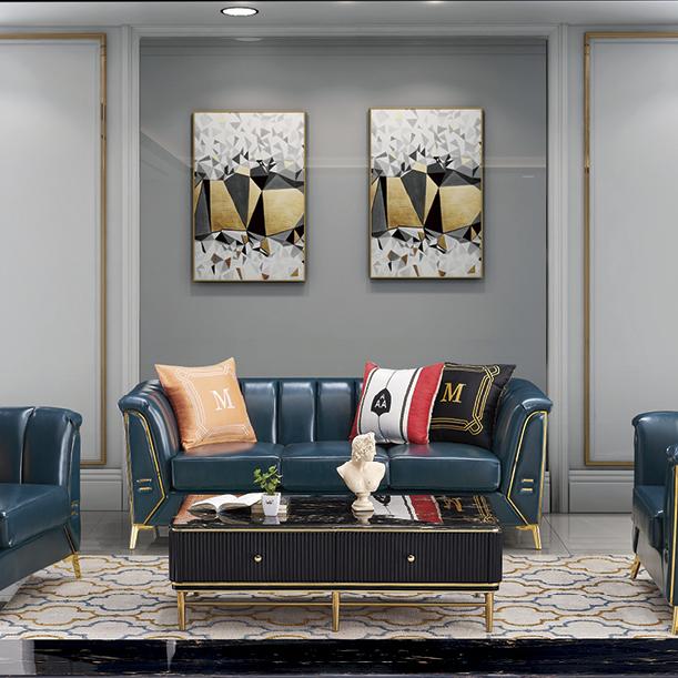 北欧简约超纤科技皮沙发现代小户型客厅三人位直排皮质沙发组合