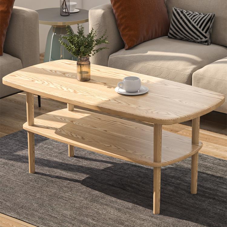 北欧简易实木客厅茶几小户型简约租房长方形吃饭桌子家用小矮茶桌