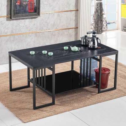 办公室新中式功夫茶几桌套装茶台桌椅组合火烧石带电磁炉洽谈泡茶