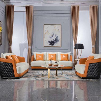 后现代轻奢真皮沙发客厅组合北欧美式奢华大小户型简约风家具