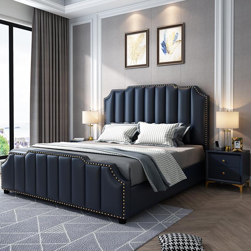 真皮床轻奢现代简约ins网红1.8米双人主卧软包大床多功能储物婚床