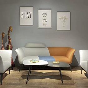 办公室沙发商务接待轻奢洽谈会客简约现代办公休闲区茶几组合套装