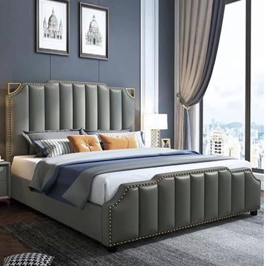 现代简约轻奢风ins网红床1.8米真皮床主卧金属软包双人床储物婚床