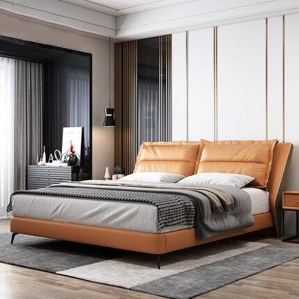 库斯床意式极简轻奢真皮床头层牛皮简约现代主卧室双人1.8米大床