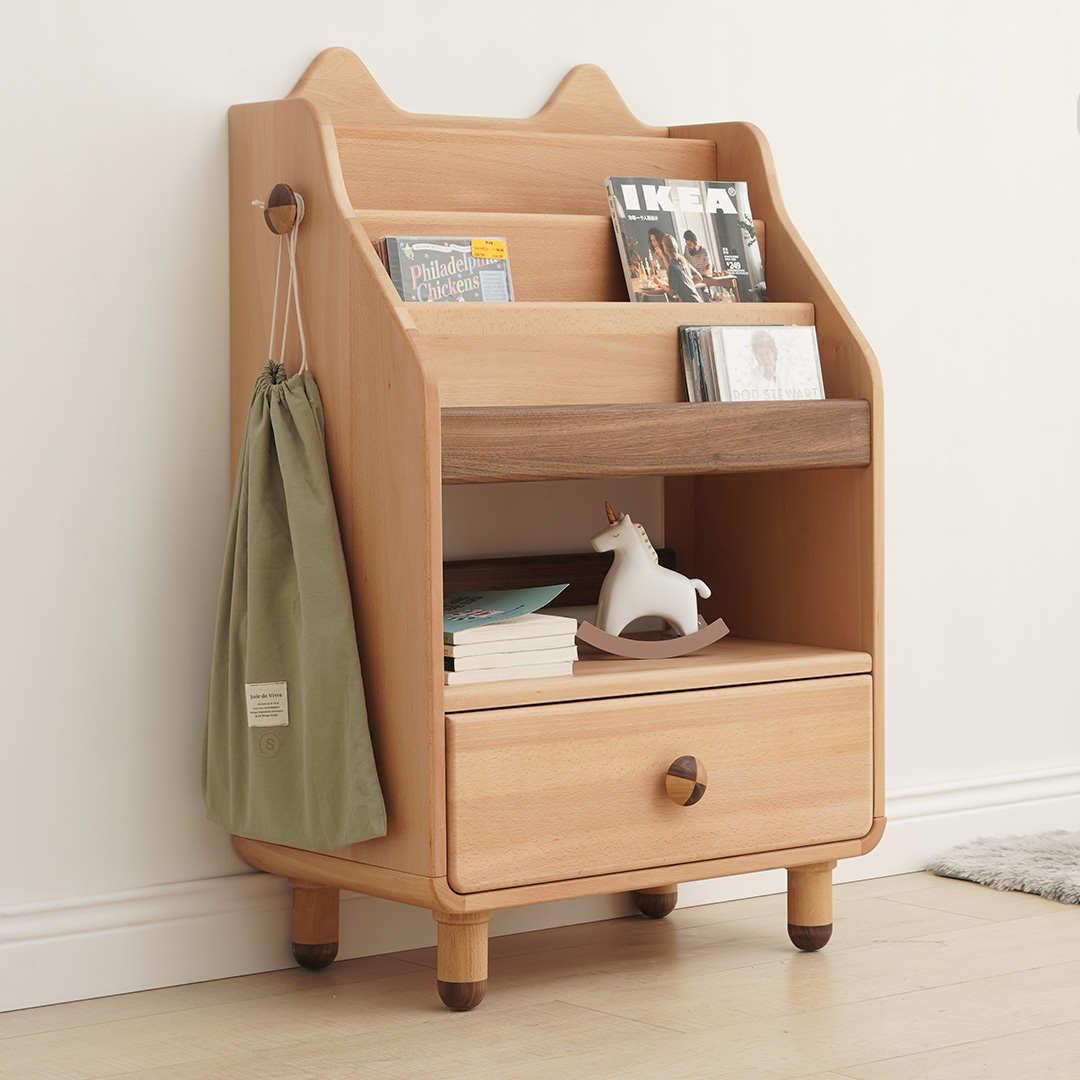 儿童创意书架全实木木蜡油趣味简易书柜小宝宝童书多层卡通收纳柜
