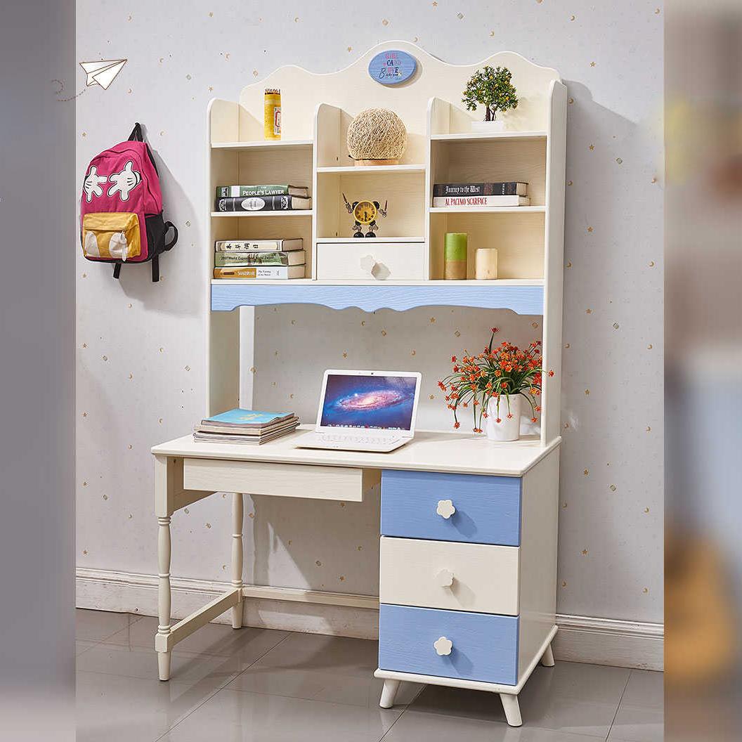 全实木电脑桌带书柜书架家用书桌一体写字台组合学生学习台式简易