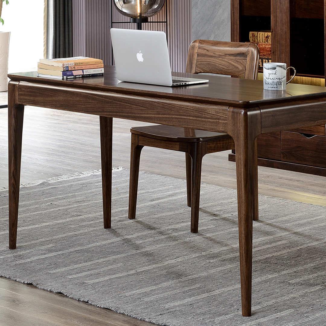 北美黑胡桃全实木书桌老板桌现代简约创意转角电脑桌写字桌办公桌