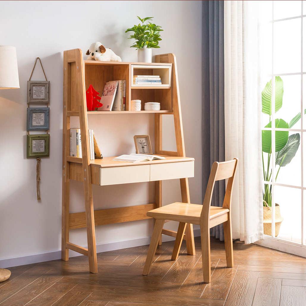 全实木儿童书桌书架一体简约转角电脑桌学生家用学习桌椅组合