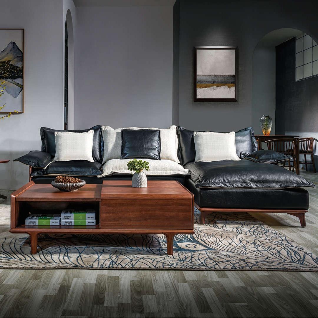 美式实木沙发组合1+2+贵客厅简约真皮/布艺沙发白蜡木原木家具