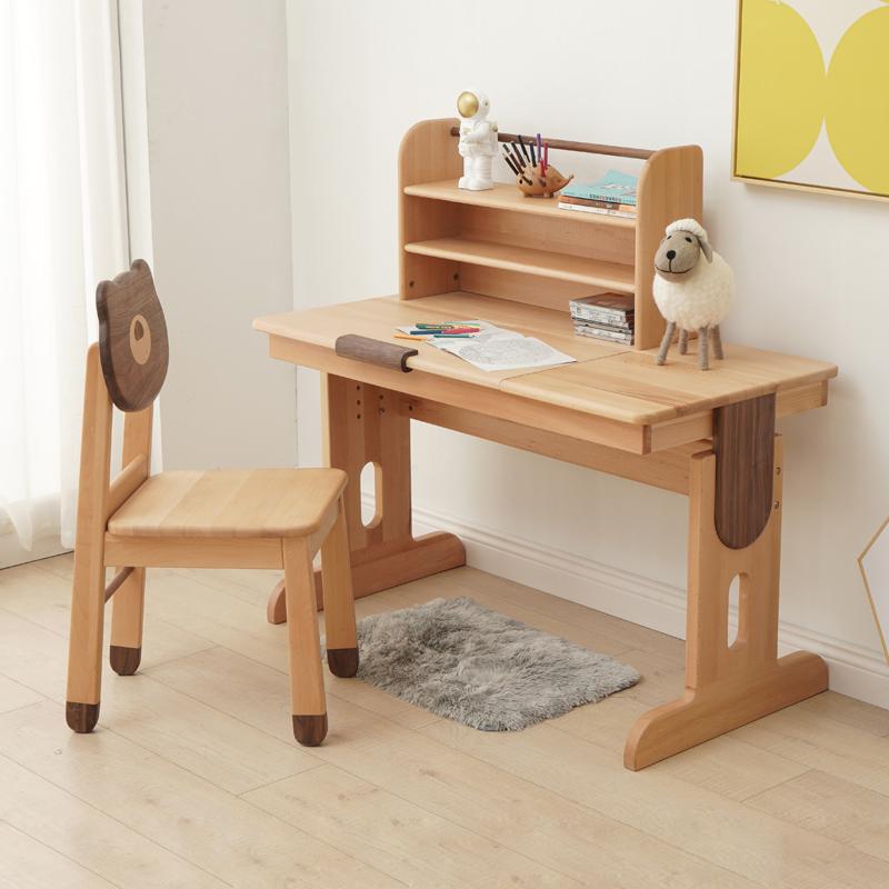 北欧全实木学生书桌书架组合简约原木色儿童房写字台学习桌子家用