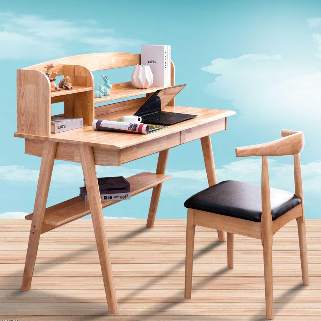 北欧简约橡木 实木书桌学生写字桌家用经济型办公台式电脑桌 卧室