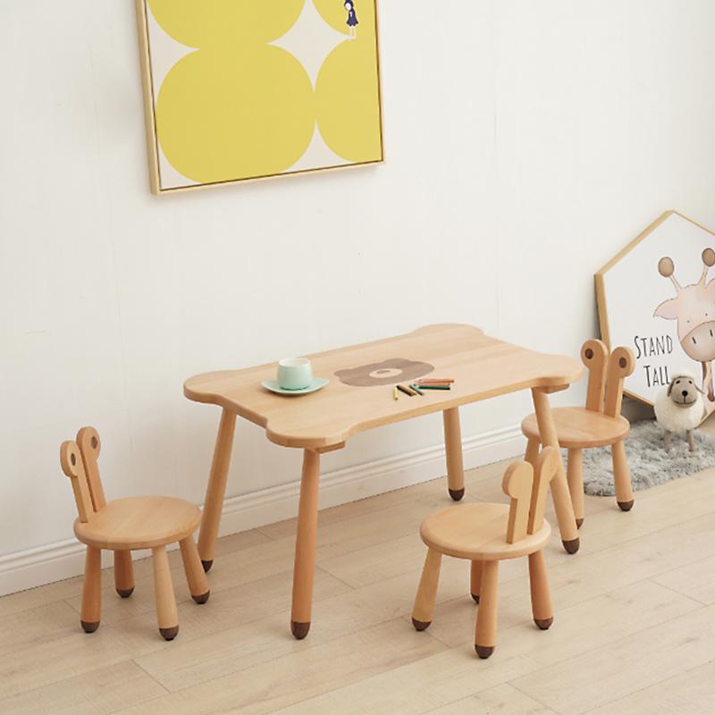 儿童家具 无漆90长桌子植物木蜡油榉木+胡桃木原木小桌