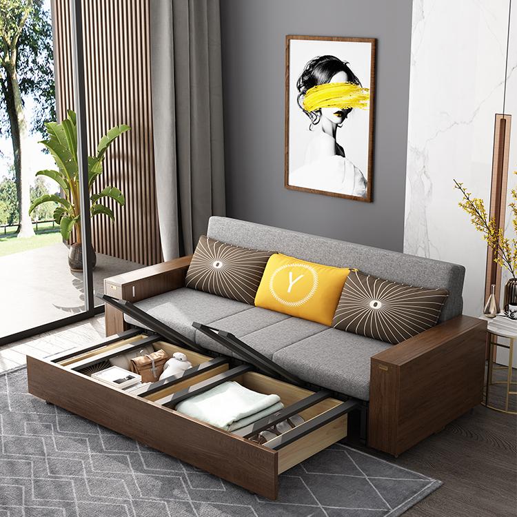 实木沙发床中式可折叠多功能储物箱双人单人推拉坐卧两用沙发床
