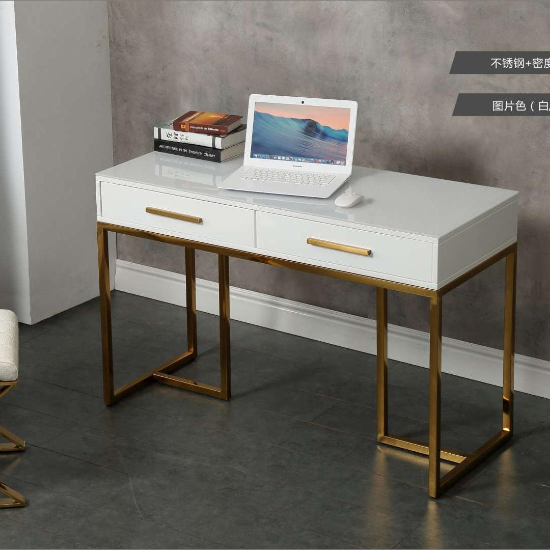 轻奢书桌简约电脑桌不锈钢白色烤漆办公桌家用写字台美容咨询桌